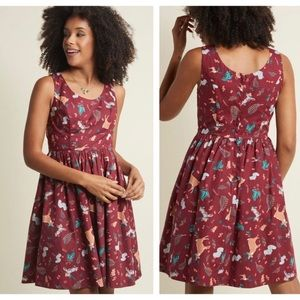 MODCLOTH optimistic effects forest critters dress